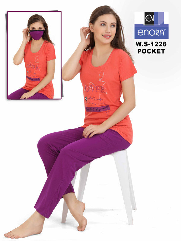 Women Peach Hosiery Cotton Night Suit-1226 - The Loungewear