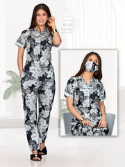 Black & White Printed Cotton Night Suit-1019 - The Loungewear