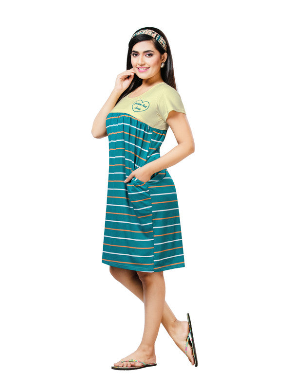 Yellow & Sea Green Striped Hosiery Short Nighty-1065 - The Loungewear