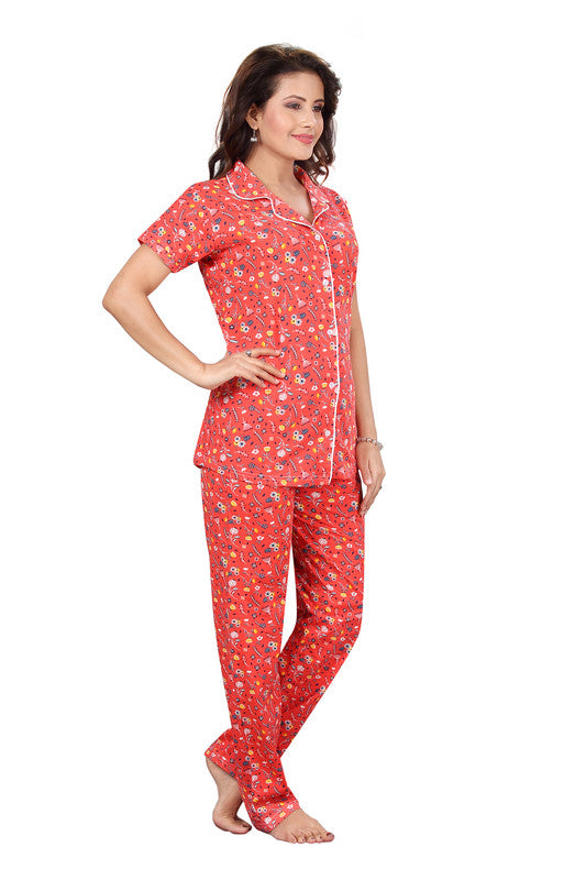 Peach Printed Knitted Lycra Hosiery Night Suit-1232 - The Loungewear