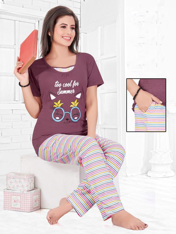 Women Maroon  Hosiery Cotton Night Suit-1047