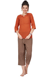 Women Rust & Brown Printed Cotton Night Suit- 1087 - The Loungewear