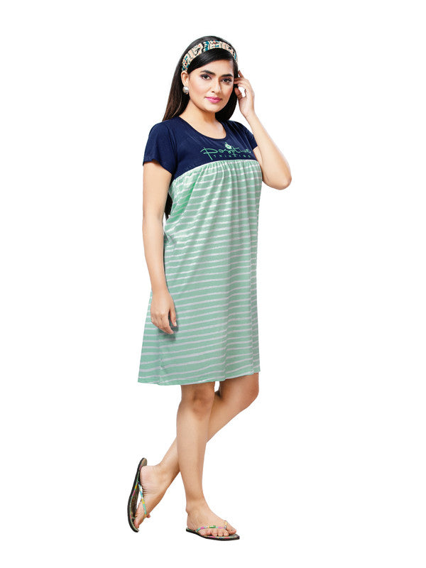Navy & Mint Green Striped Hosiery Short Nighty-1066 - The Loungewear