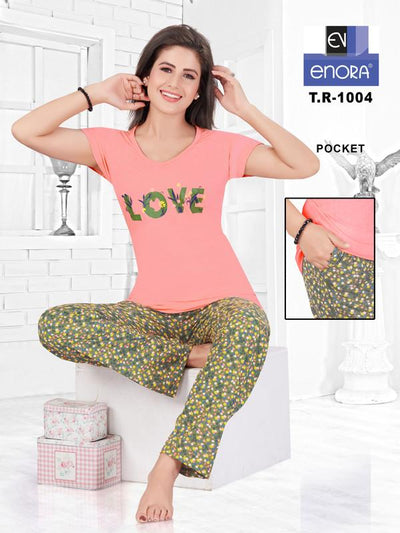Women Carrot Colored Hosiery Cotton Night Suit-1048 - The Loungewear