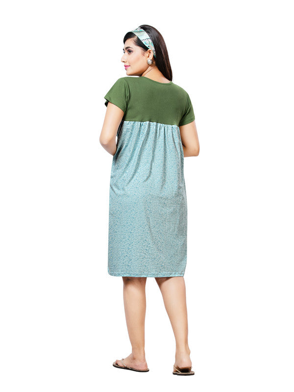 Olive Green & Light Blue Striped Hosiery Short Nighty-1067 - The Loungewear