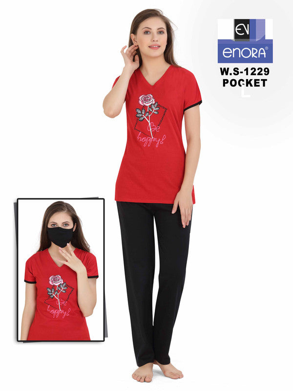 Women Red Hosiery Cotton Night Suit-1229 - The Loungewear