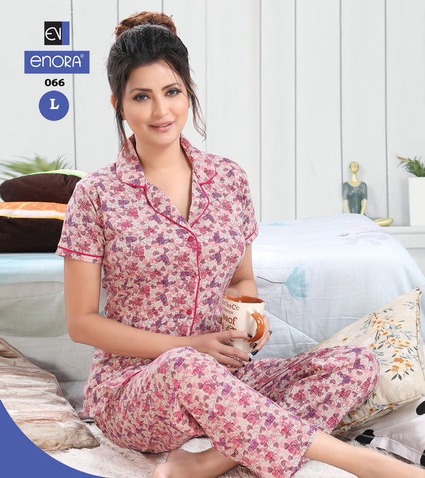 Pink Printed Hosiery Knitted Cotton Night Suit- 066 - The Loungewear