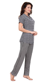 Navy Blue Geometric Printed Knitted Lycra Hosiery Night Suit-1231 - The Loungewear