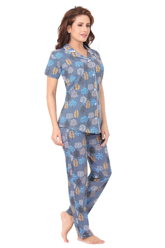 Light Blue Printed Knitted Lycra Hosiery Night Suit-1071 - The Loungewear
