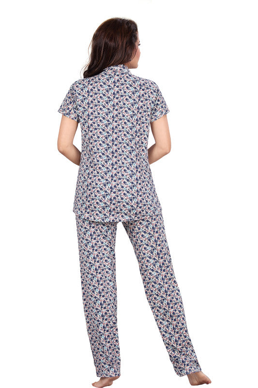 Multi-Coloured Floral Printed Knitted Lycra Hosiery Night Suit-1235 - The Loungewear