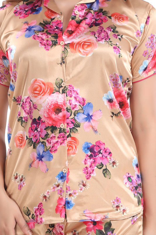 Peach Floral Print Satin Night Suit - 1141 - The Loungewear