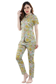 Multi Coloured Printed Cotton Night Suit-1016 - The Loungewear