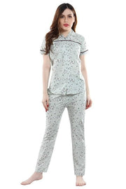 Women Light Coloured  Printed Cotton Night Suit-1017 - The Loungewear