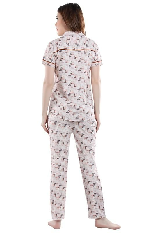 White Printed Cotton Night Suit-1018 - The Loungewear