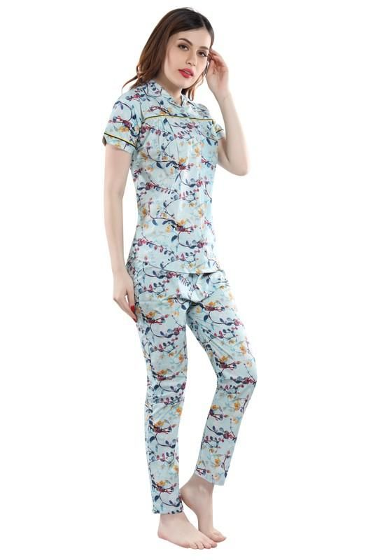 Women Light Blue Printed Cotton Night Suit-1024 - The Loungewear