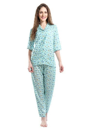 Women Blue Printed Modal Night Suit-1026 - The Loungewear