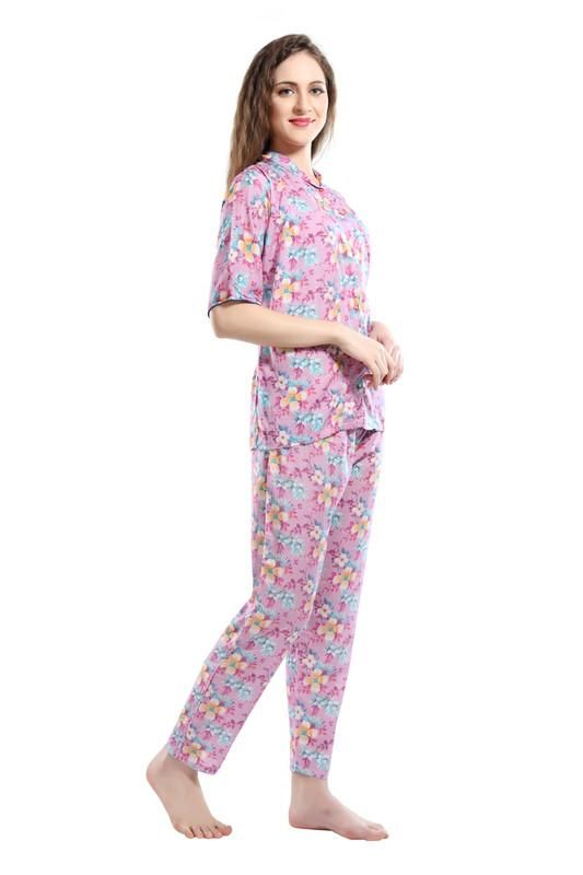 Women Pink Floral Print Modal Night Suit-1030 - The Loungewear