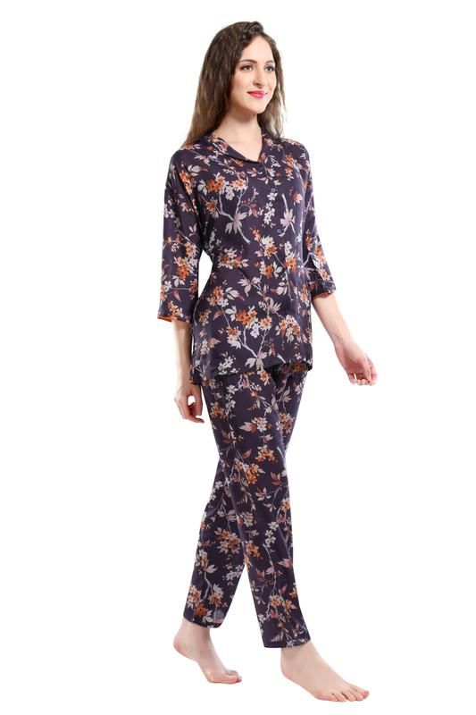 Women Wine Colored Printed Modal Night Suit-1033 - The Loungewear