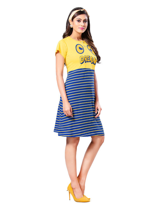 Yellow & Blue Printed Hosiery Cotton Short Nighty-1078 - The Loungewear