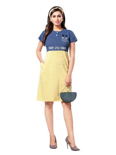 Blue & Yellow Printed Hosiery Cotton Short Nighty-1079 - The Loungewear