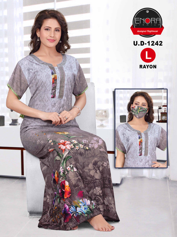 Steel Grey Printed Rayon Nighty-1242 - The Loungewear