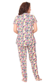 Women Multi-Coloured Geometric Printed Knitted Lycra Hosiery Night Suit-1073 - The Loungewear