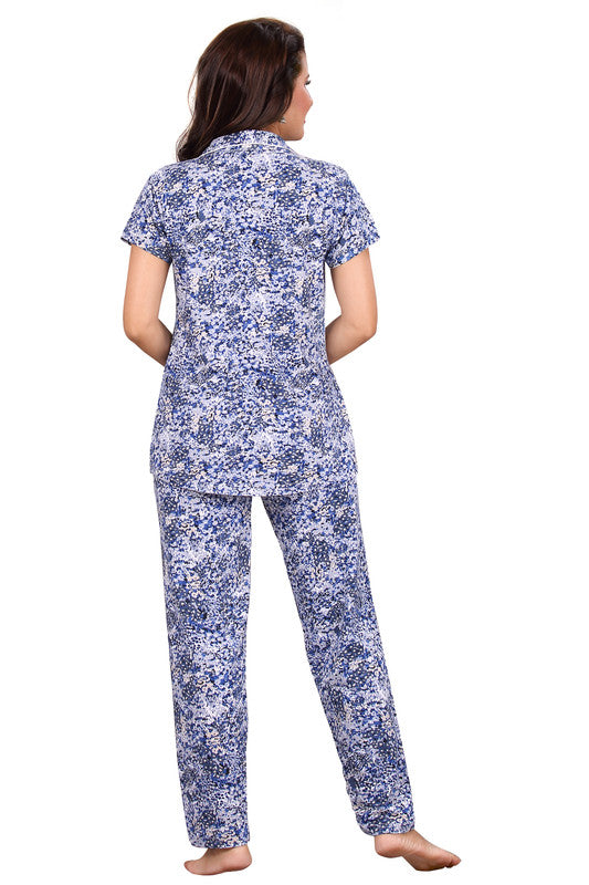 Blue Abstract Printed Knitted Lycra Hosiery Night Suit-1234 - The Loungewear