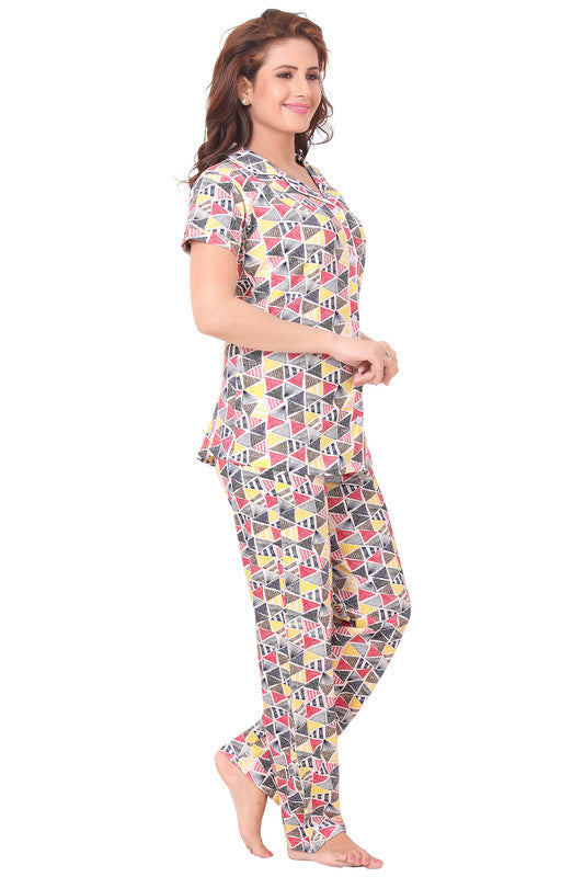 Multi-Coloured Geometric Printed Knitted Lycra Hosiery Night Suit-1073 - The Loungewear