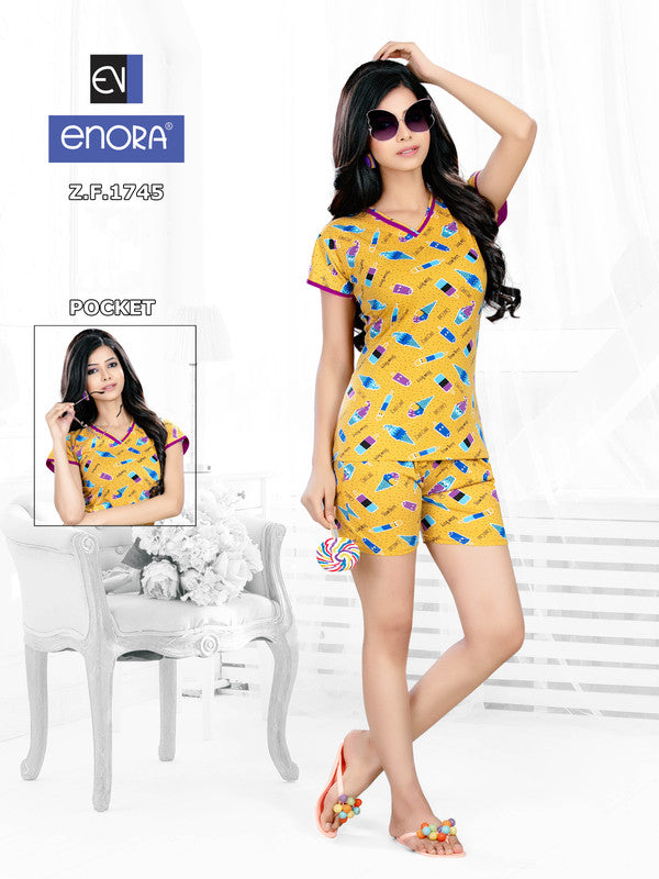 Mustard Printed Knitted Cotton Nightsuits-1745 - The Loungewear