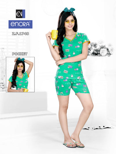 Women Sea Green Printed Knitted Cotton Nightsuits-1748 - The Loungewear
