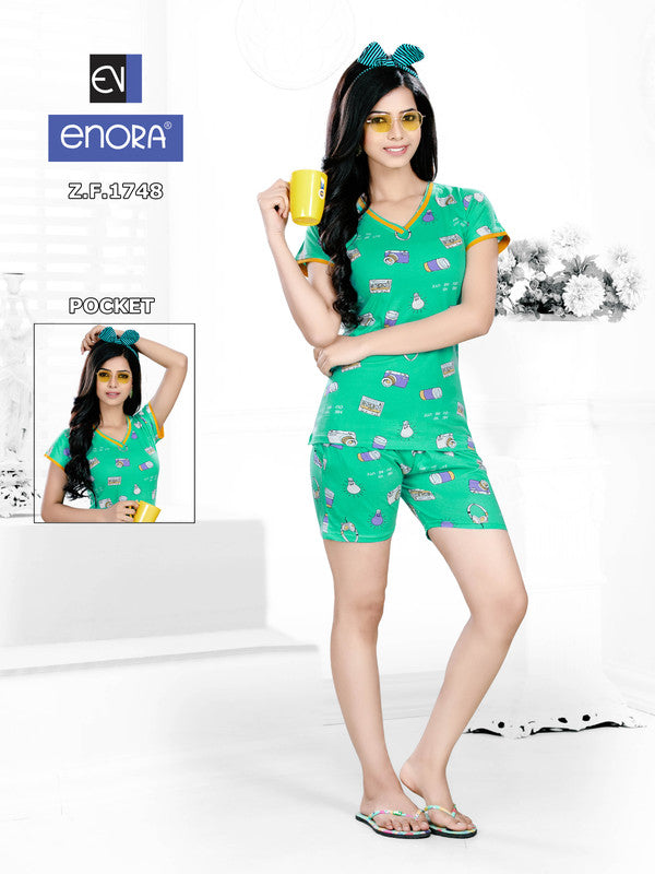 Sea Green Printed Knitted Cotton Nightsuits-1748 - The Loungewear