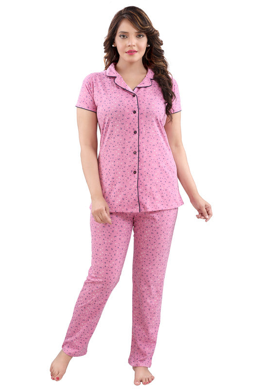 Women Pink Printed Hosiery Knitted Cotton Night Suit- 1109