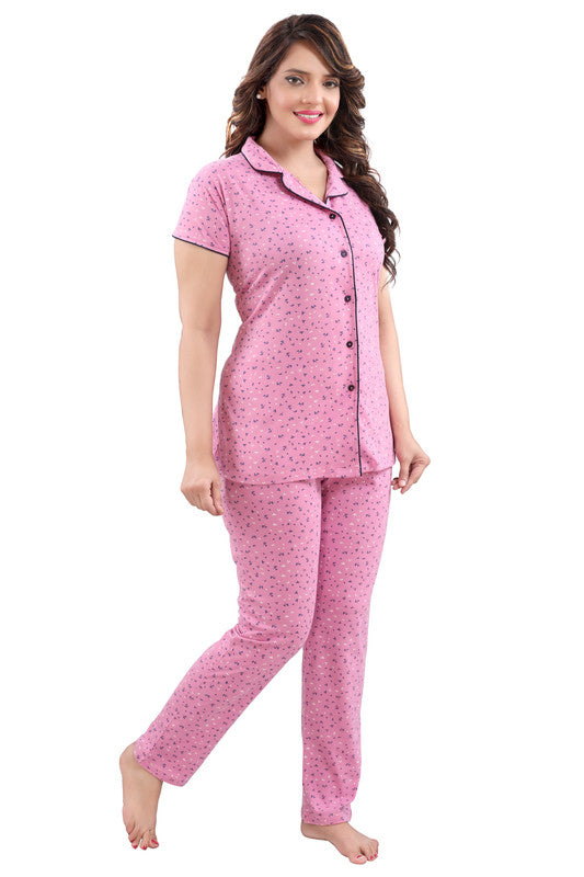 Pink Printed Hosiery Knitted Cotton Night Suit- 1109 - The Loungewear