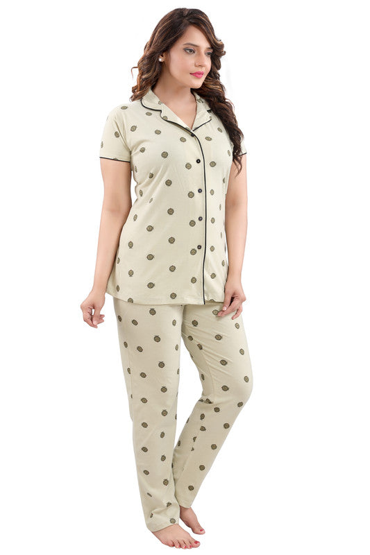 Belge Printed Hosiery Knitted Cotton Night Suit - 1110 - The Loungewear