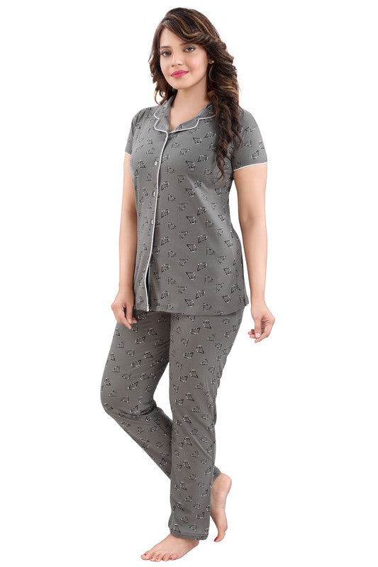 Women Grey Printed Hosiery Knitted Cotton Night Suit - 1111