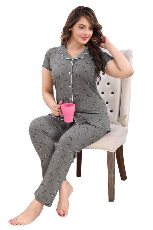 Grey Printed Hosiery Knitted Cotton Night Suit - 1111 - The Loungewear