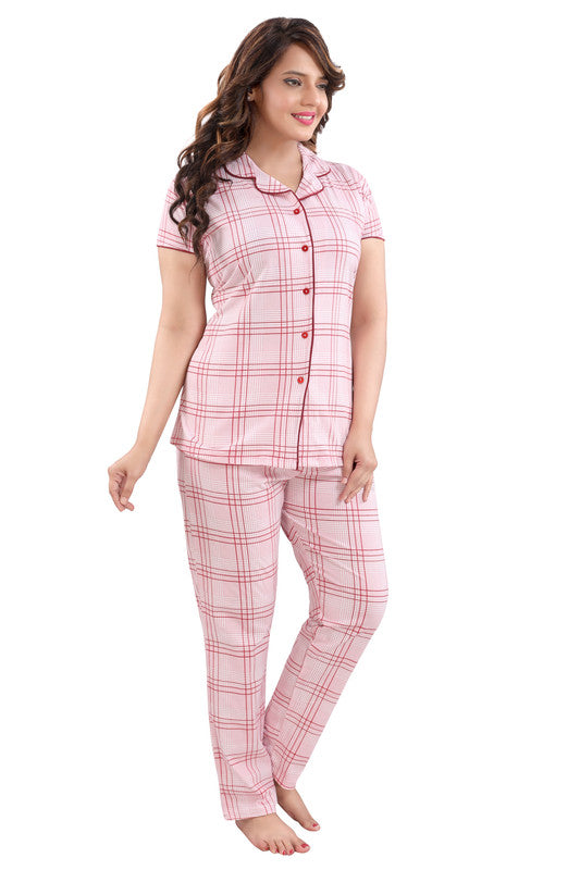 Pink Checkered Hosiery Knitted Cotton Night Suit - 1112 - The Loungewear
