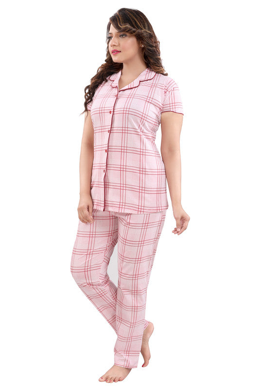 Women Pink Checkered Hosiery Knitted Cotton Night Suit - 1112