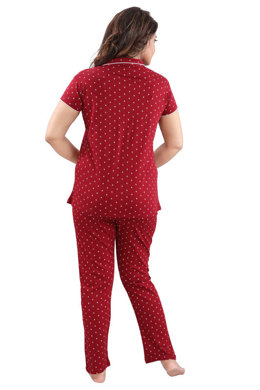 Women Maroon Printed Hosiery Knitted Cotton Night Suit - 1113