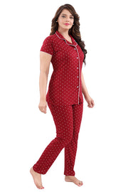 Maroon Printed Hosiery Knitted Cotton Night Suit - 1113 - The Loungewear