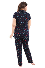 Women Navy Printed Hosiery Knitted Cotton Night Suit - 1114