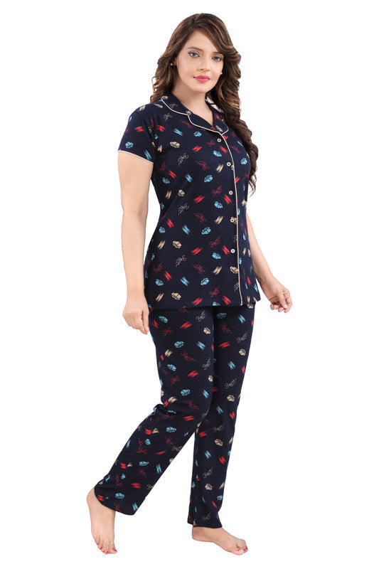 Navy Printed Hosiery Knitted Cotton Night Suit - 1114 - The Loungewear