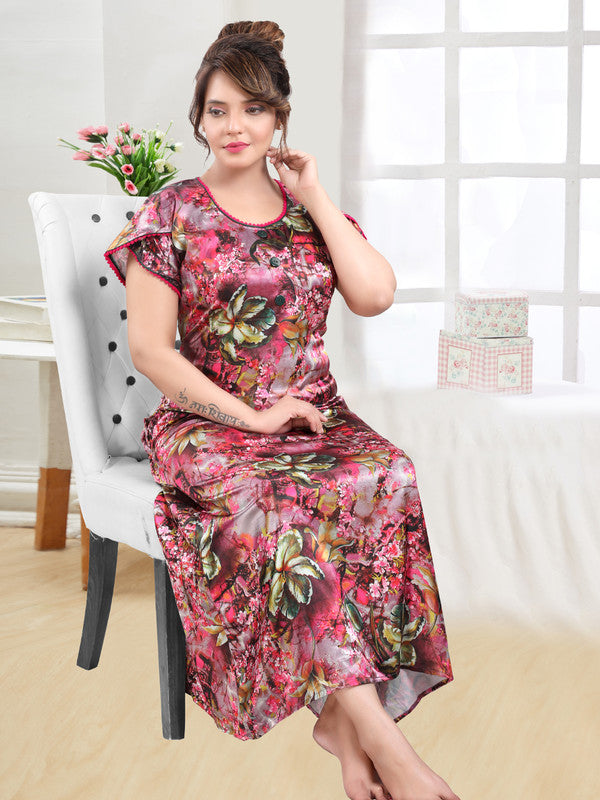 Multicoloured Digital Print Satin Nighty - 1117 - The Loungewear