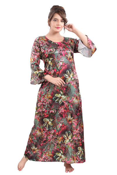 Multicoloured Digital Print Satin Nighty - 1118 - The Loungewear