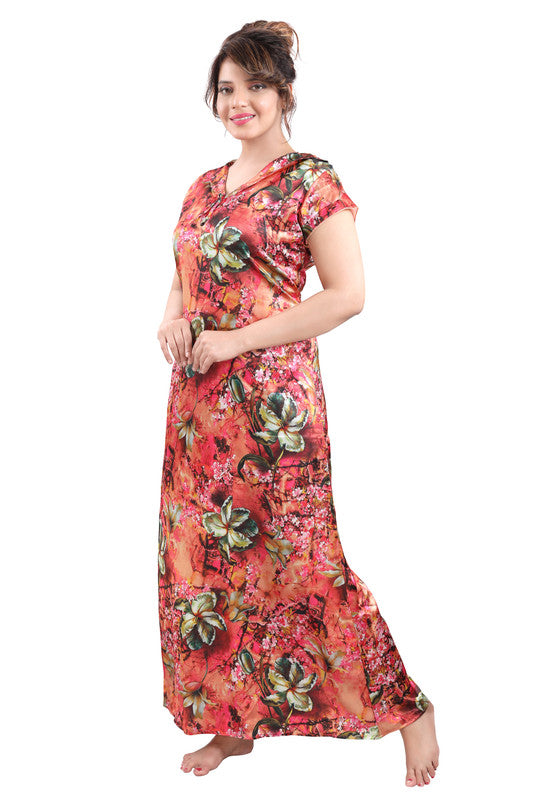Multicoloured Digital Print Satin Nighty - 1119 - The Loungewear
