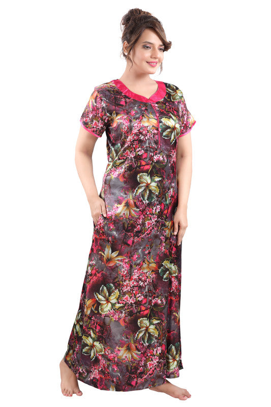 Multicoloured Digital Print Satin Nighty - 1120 - The Loungewear