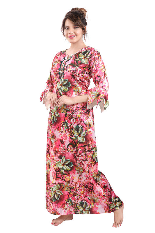 Multicoloured Digital Print Satin Nighty - 1121 - The Loungewear