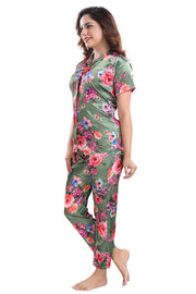Green Floral Print Satin Night Suit - 1145 - The Loungewear