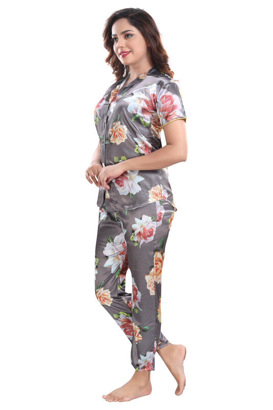 Grey Floral Print Satin Night Suit - 1146 - The Loungewear