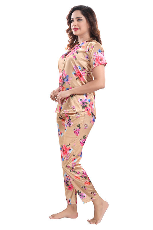 Peach Floral Print Satin Night Suit - 1141